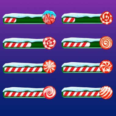 Big set game resource bar with vector cartoon candy. Illustration can be used for game design. icon