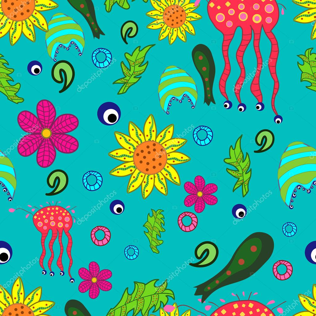 seamless pattern with fantastic flowers and leaves