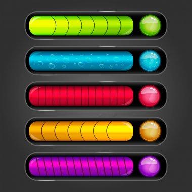 Progress bar set for games. Game interface illustration. clip art vector