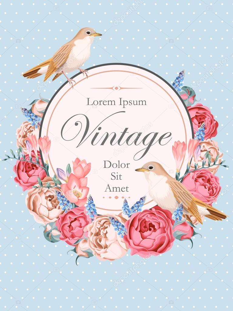 Beautiful vintage vector card with nightingales