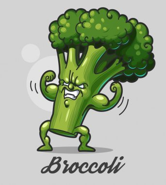 Funny cartoon broccoli