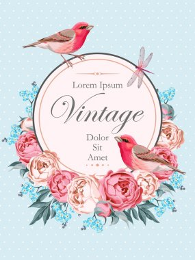 Beautiful vintage vector card with birds