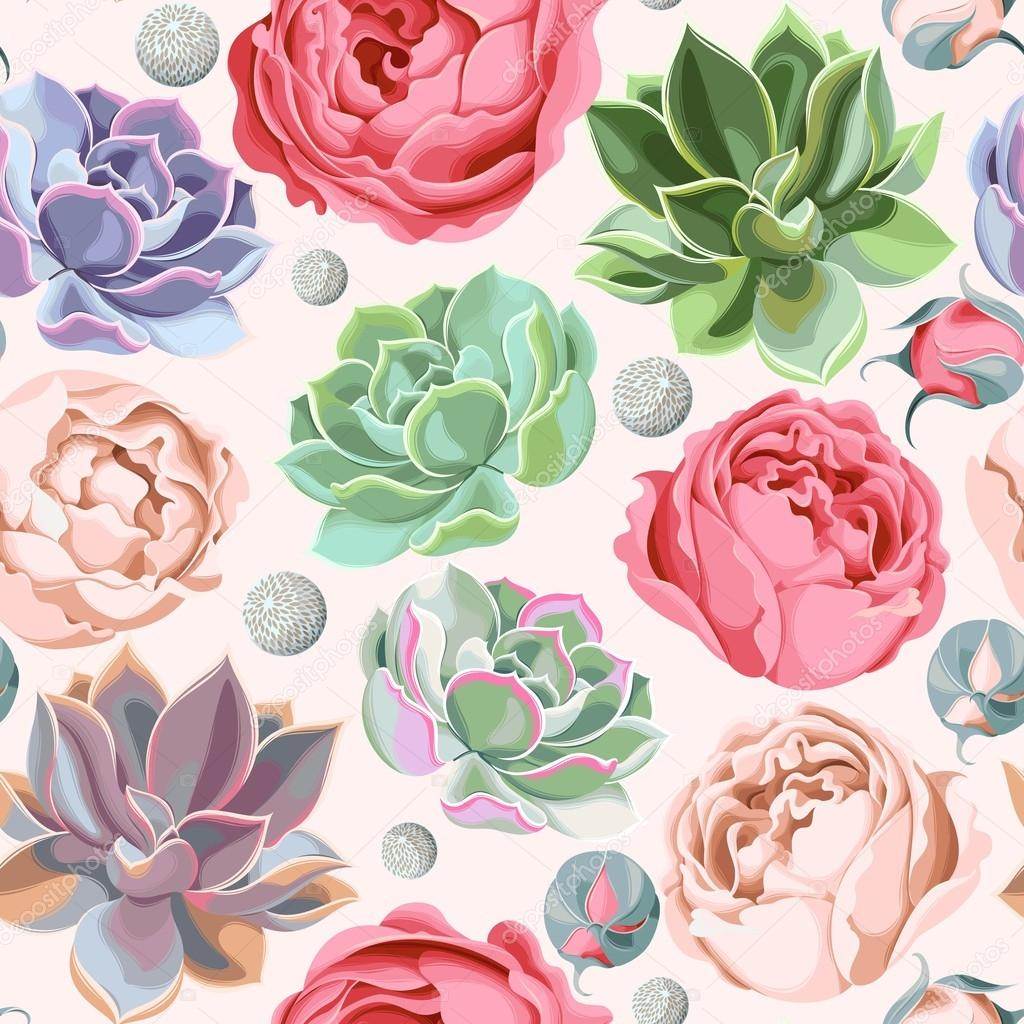 Seamless succulent and peony roses