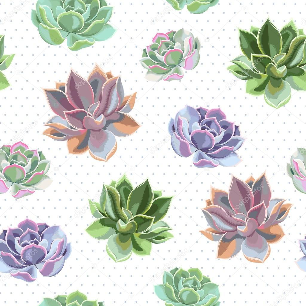 Seamless colorful succulents