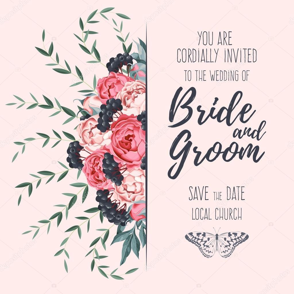 Wedding invitation with peonies