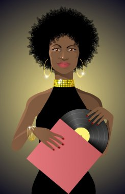 Beautiful african lady disco style with vinyl