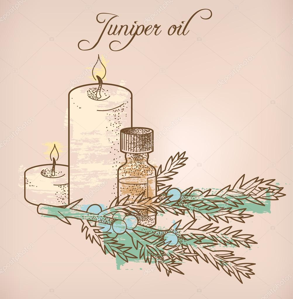 Juniper essential oil and candles