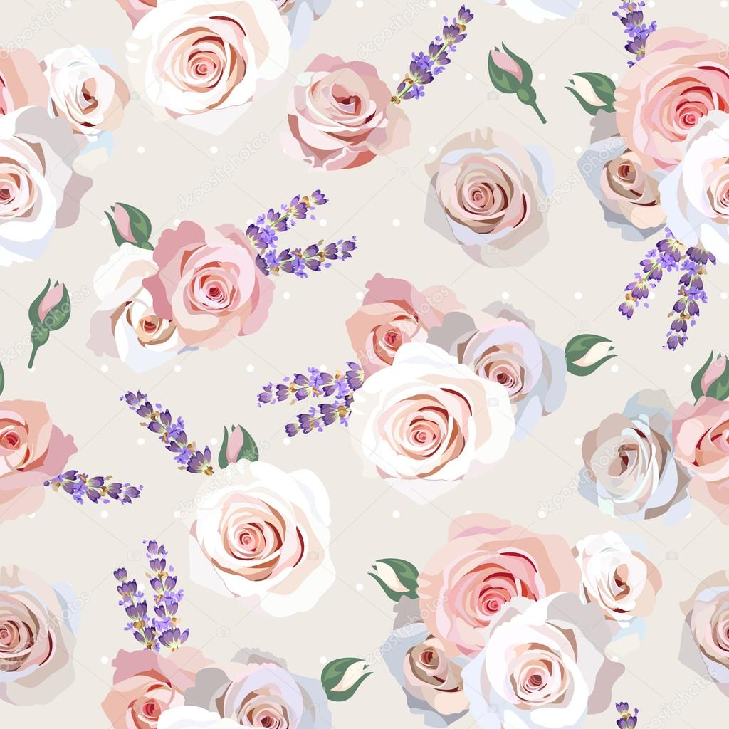 Seamless roses and lavender
