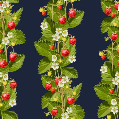 Wild strawberries seamless background