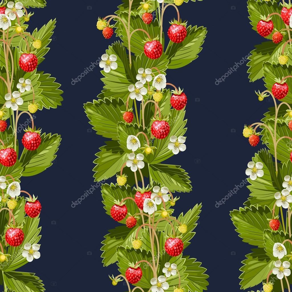 Wild strawberries seamless background