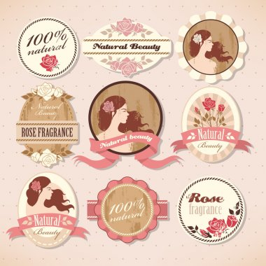 Set of natural beauty labels with roses clip art vector