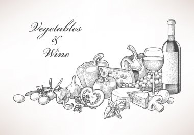 Wine, cheese and vegetables