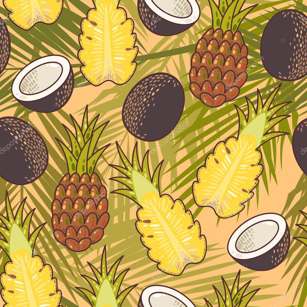 Seamless pineapple and coconut