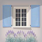 Okno s modrými okenicemi