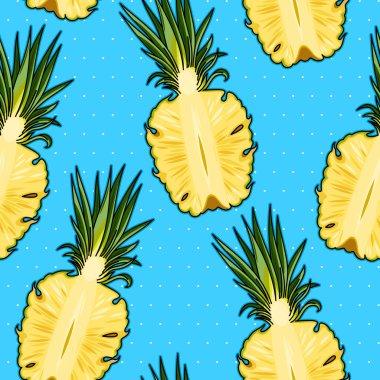 Seamless pineapple and polka dot