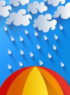 Illustration of rain, clouds and colorful umbrella clip art vector