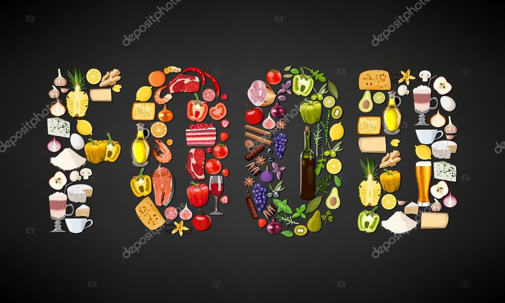 Word food composed of different food items and drinks stock vector
