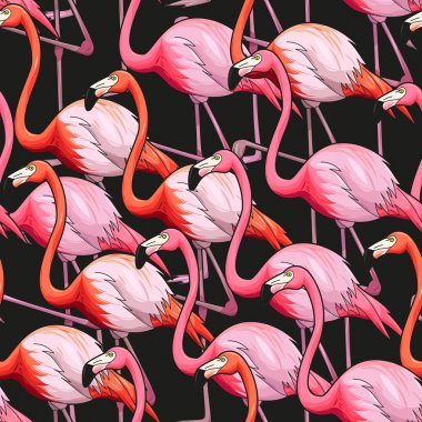 Colorful flamingo seamless background