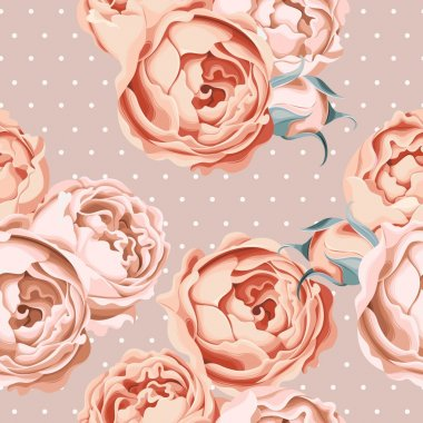 Seamless peony roses and polka dot