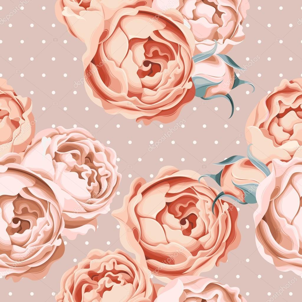 Seamless peony roses and polka dot