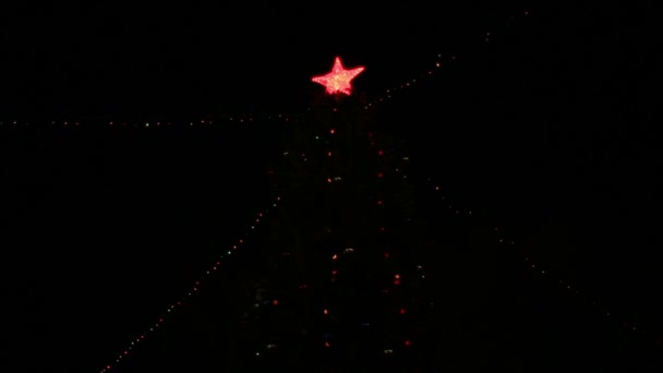 The big red star on a Christmas tree