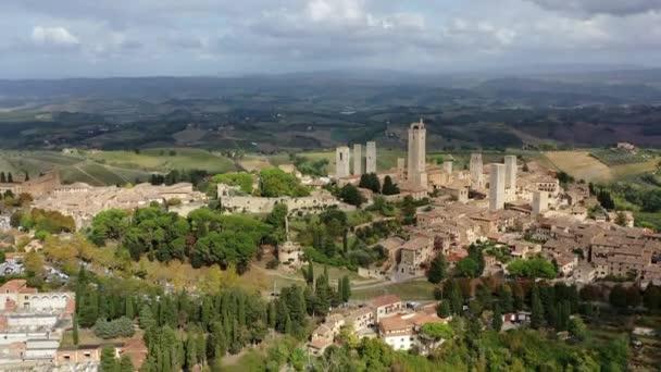 antik kilátás a középkori város San Gimignano, Toszkána Olaszország.