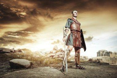 Ancient Greek warrior posing