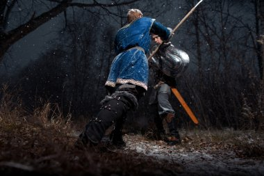 The battle between medieval knights in the style of Game of Thro
