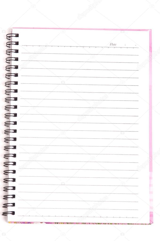 Leere Spiralblock mit Linie Papier isoliert auf einem weißen ...