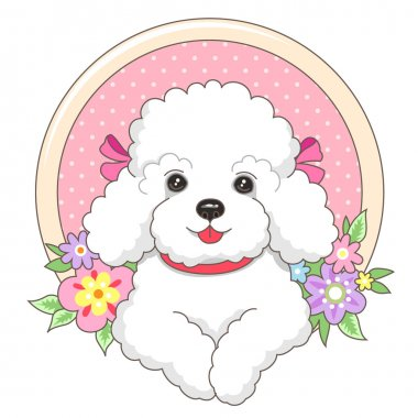 Little lapdog in a frame with flowers