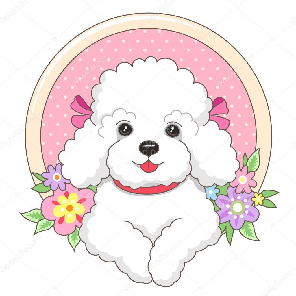 Perro faldero poco en un marco con flores — Vector de stock ...