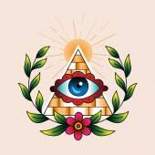 Fotografie Symbol of the masons in laurel wreath.