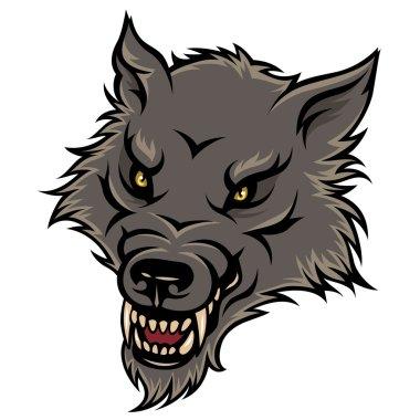 Stylized head of agressive wolf.