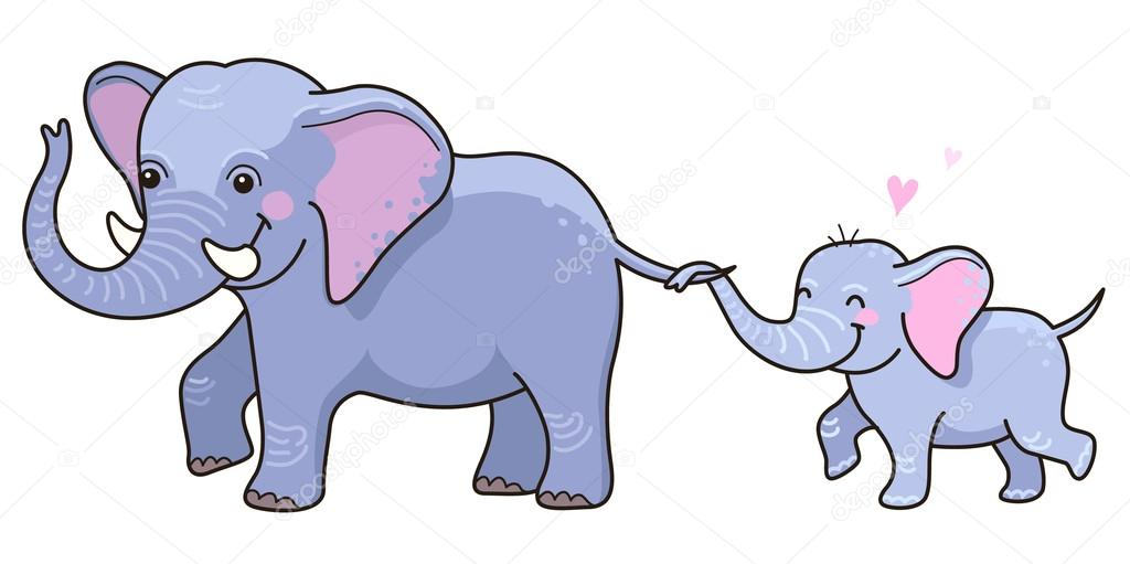 desenho de elefante com o filhote vetores de stock reinekke