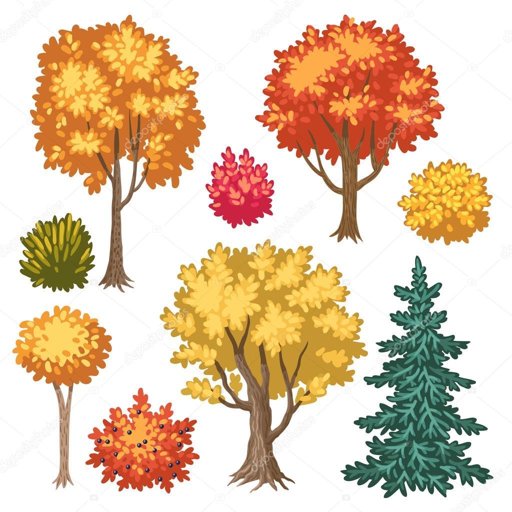 Arbustos Y árboles De Otoño Archivo Imágenes Vectoriales