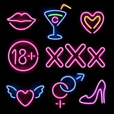 Set of glowing neon erotic symbols