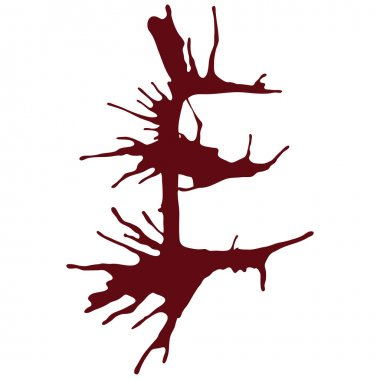 Dripping blood ink fonts the letter E.