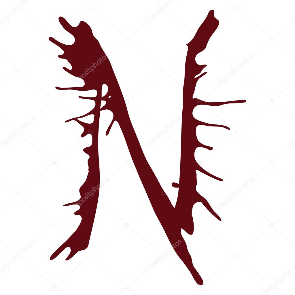 Dripping Blood Ink Fonts The Letter N  Stock Vector  Artmelnikov