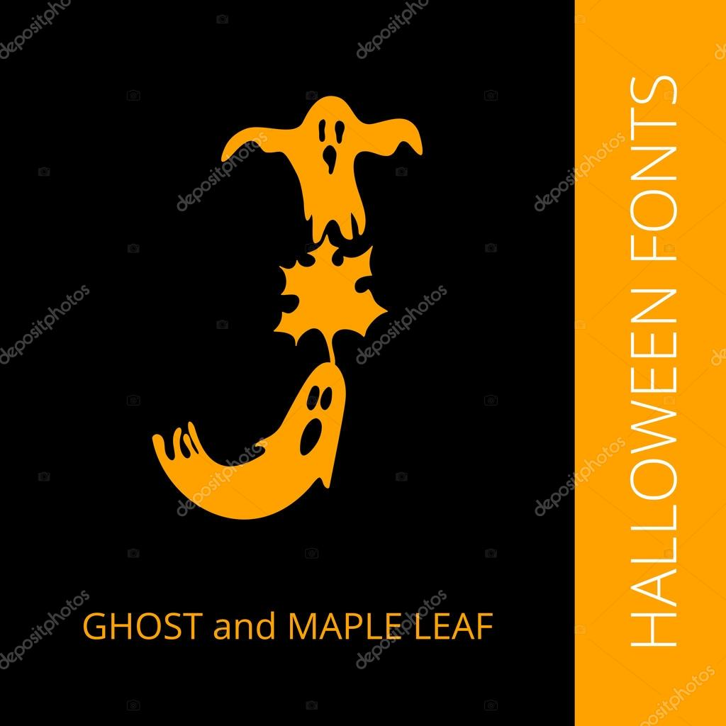 Halloween alphabet letter J consist of ghost and maple leaf — Stock ...