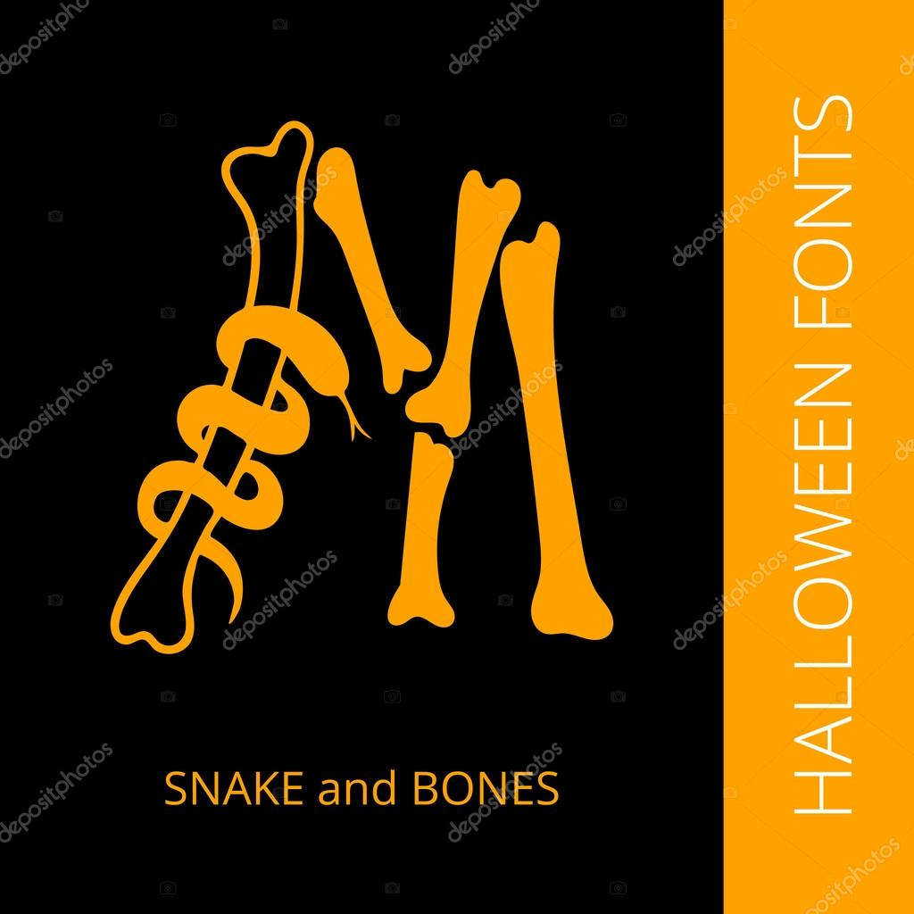 Halloween alphabet letter M consist of snake and bones — Stock