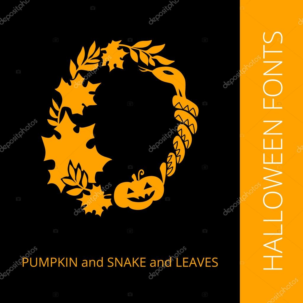 Halloween alphabet letter O consist of pumpkin, snake and leaves