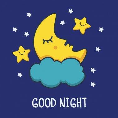 Funny sketching sleeping moon and smiling stars. Vector cartoon illustration background. clip art vector