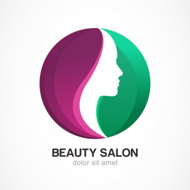 Woman's face in circle shape. Profile of the beautiful girl, vector logo design template. Abstract design concept for beauty salon, massage, cosmetic and spa. clip art vector