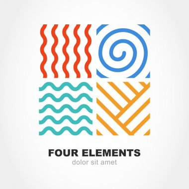 Four elements simple line symbol. Vector logo template. Abstract