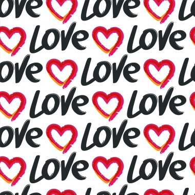 Vector seamless pattern, hand drawn word love and red heart, iso
