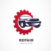 Photo Vector flat illustration of sport car in gears cogs. Abstract lo