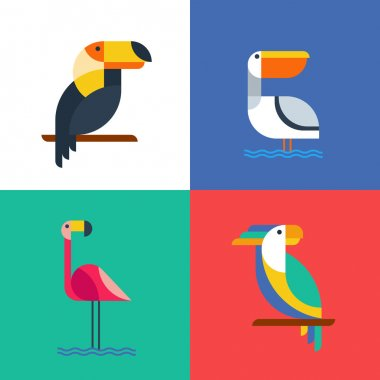 Exotic tropical birds flat style logo icons.