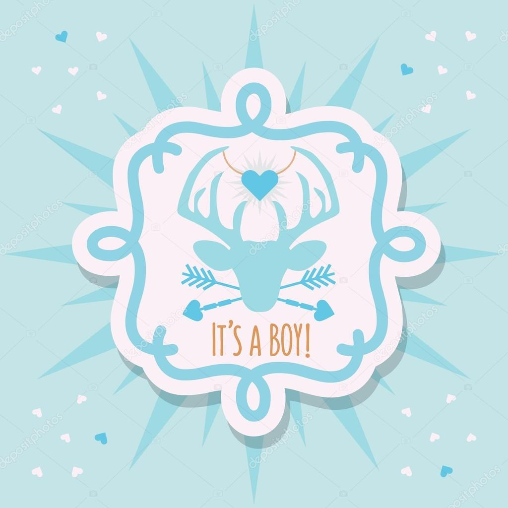 cute blue baby boy deer emblem sticker and sunburst card with it s a