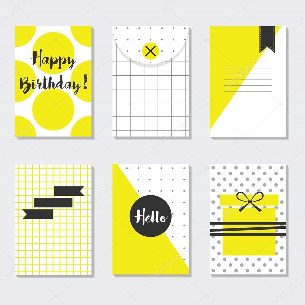 Niedliche gelb und weiß setzen trendige Muster Karten mit Happy ...