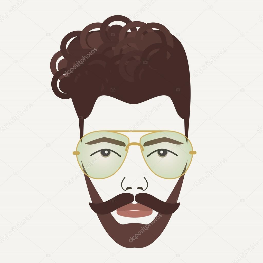 Junge dunkelbraune Haare Hipster Mann mit Schnurrbart und Bart ...